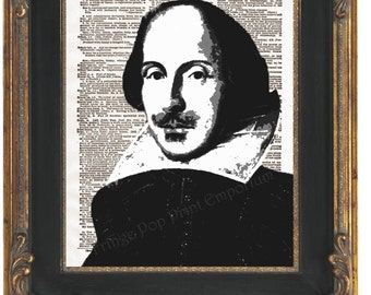 William Shakespeare Art Print 8 x 10 Dictionary Page - Pop Art Poet Literature Playwright English Writer