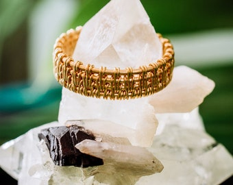 Vermeil braided ring / Handmade and One of a kind /