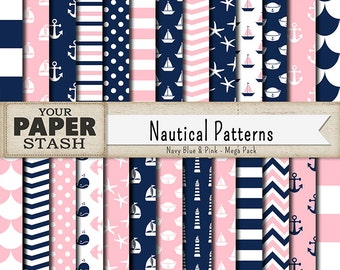 Nautical Scrapbook Paper, Navy Blue, Pink, Nautical, Digital Paper Pack, Background, Planner Paper, Baby Girl, Shower, Commercial Use, Print