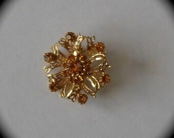 Flower Brooch with Citrine Color  Rhinestones.