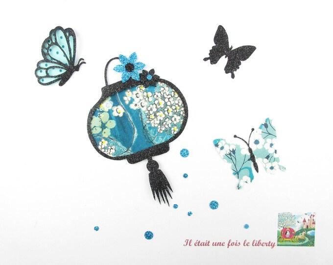 Appliqués thermocollants lanterne et papillons en liberty Pamela Judith et Mitsi menthe à l'eau & flex pailleté