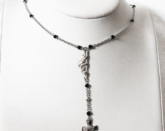 Corsica Ribbon & Onyx Rosary necklace