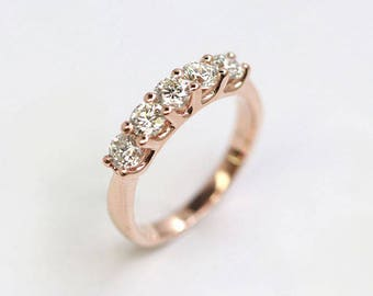 0.75Ct Diamond Wedding Band.14k Rose Gold Diamond Ring.5 Natural Diamond Band.14k White Gold Ring.Diamond Matching Band.Vintage Wedding Ring