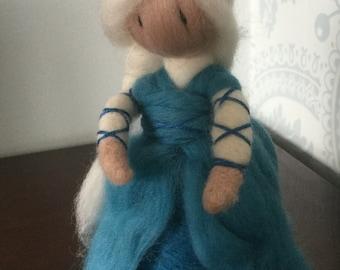 Elsa inspired needle felted doll