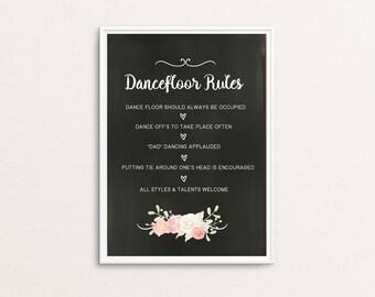 Wedding Decor Instant Printable Sign- Dance floor Rules