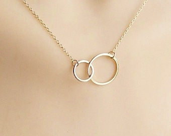 Gold linked circle necklace, Vermeil link necklace, gold plated double link circle necklace, eternity link necklace,