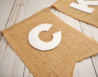 Burlap name banner, White felt letters, Banner for Baby Shower or Birthday, Party Decor, Burlap Name Sign, Felt Name Banner