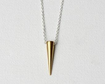 Gold Brass Spike Necklace, Modern Minimal Jewelry, Mixed Metal Jewellery, Modern Brass Jewelry, Layering Necklace, Minimal Necklace