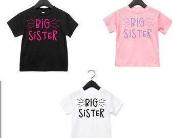 Toddler Big Sister shirt, Toddler girls tee, toddler sister t-shirt
