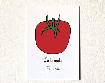 Art print 5 x 7 Tomato - Nursery Decor - children kids Red