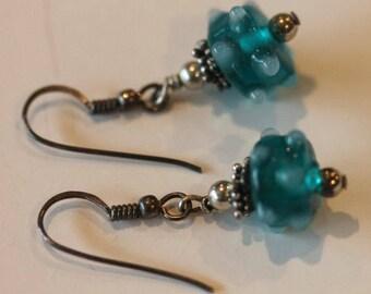 Sterling silver dangle art glass dangle earrings hooks