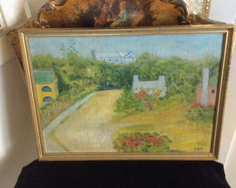 Vintage Oil Painting, Cubism, on Linen, Signed, Beautiful!
