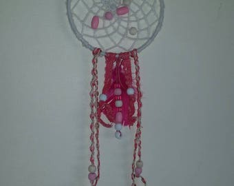 SALE Shabby chic dream catcher pink beads feathers ribbons wall decor bedroom nursery