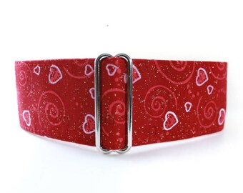 Valentine Martingale Collar, Red Martingale Collar, Valentine Dog Collar, Red Dog Collar, Sighthound Collar, Greyhound Collar, Whippet