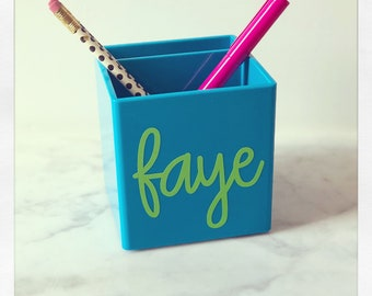 Personalized Pen holder {pool blue}