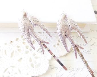 Silver Sparrow Hair Pins - Bird - Swallow - Take Flight Bobby Pin Set - Woodland - Garden Wedding - Bridal Hair