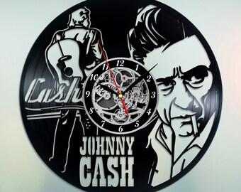 Johnny Cash Clock Vinyl Wall Clock Johnny Cash Art Country Music Decor Unique Wall Clock Music Lover Gift Rockabilly Decor Rock and Roll Art