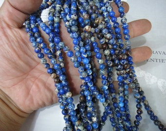 6mm blue impression jasper round beads, 15.5 inch