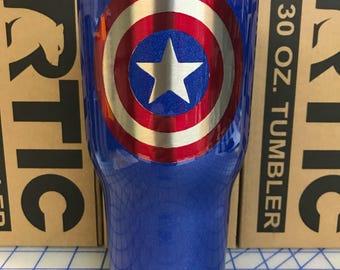 Custom Powder Coated 30oz RTIC tumbler Captain America Shield