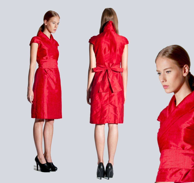 silk wrap dress / weddingdress in kimono style from natural raw silk ...