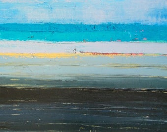 Abstract Ocean Oil Painting, abstract beach painting, blue ocean painting