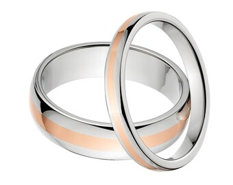 Titanium and Copper Matching Ring Set His & Her's Ring Set Copper Ring Set Titanium Wedding Rings Copper Bands: 6HR12G-Copper, 3HR11G-Copper