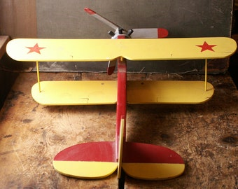 Vintage Handmade Wood Airplane - Yellow and Red Biplane - Great Kids Room Decor