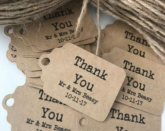 Thank you tags - Custom Tags - Kraft Paper Tags - Wedding Tags - Engagement Tags - Personalized Tags with Name and Date (50)