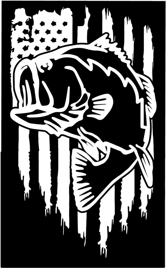 American flag bass fishing hunting vinyl die cut sticker decal for Bass fishing decals