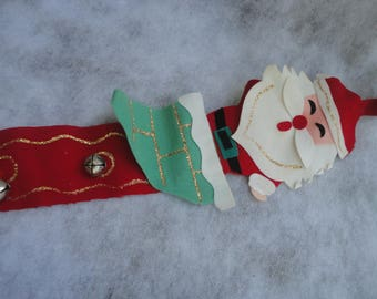 Vintage Dexter's Santa Door Ringer Made in Japan, Leewards Santa, Felt Santa Door Ringer, Christmas, Holiday Door Decoration, Santa Claus