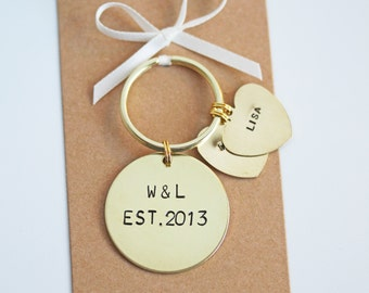 Personalised Couples Hand stamped Keyring. Valentine's Day gift