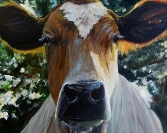 Cow Painting - Eileen - Print on Paper by Cari Humphry