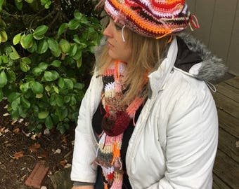Shabby Chic Hat and Scarf Set