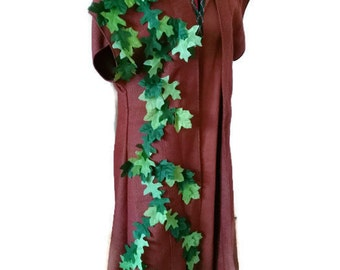 Brown, sleeveless robe with hand sewn leaves - LARP  costume