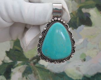 Sleeping Beauty Turquoise Oversized Pendant Native American Navajo Sterling Silver Clip on Bail