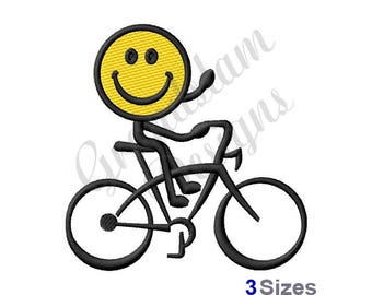 Smiley Bike Rider - Machine Embroidery Design