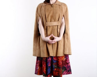 Vintage Suede Cape . Tan Leather Poncho . 1960s Outer Wear