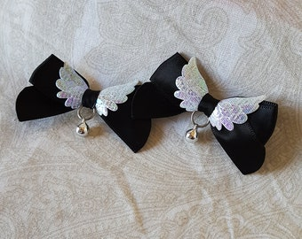Made to Order Black and White Mini Pegasus Clip On Ear Bows