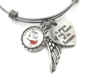 Sympathy Gift, Loss of Parents, Loss of Mom, Loss of Dad, In Loving Memory of Father and Mother, Remembrance Bracelet, Cardinal Keepsake