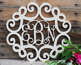 "Vine Monogram with Bow Design Frame 16"" inch, Connected Wooden Monogram"