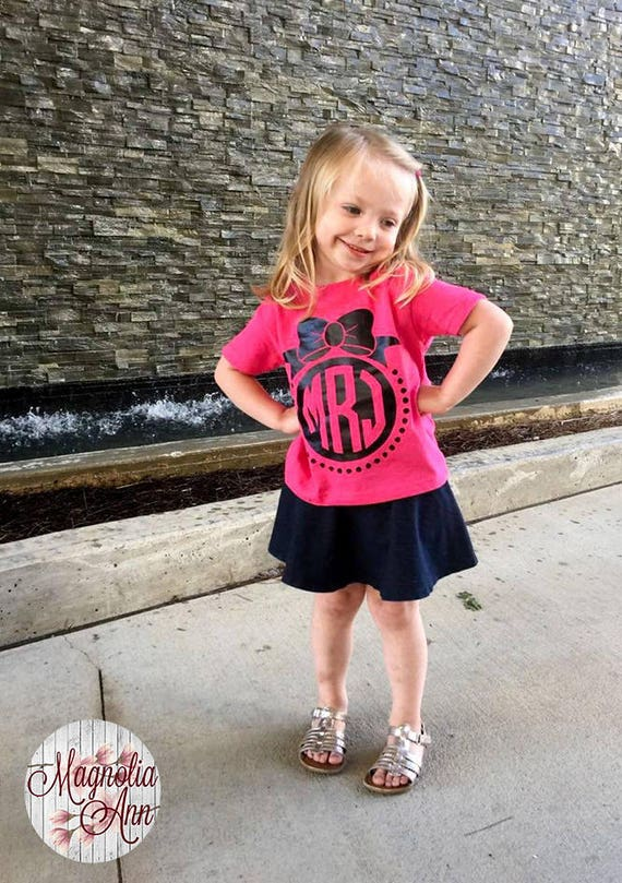 Custom Monogram with Bow, Toddler T-Shirt in 11 Different Colors in Sizes 2T-5/6