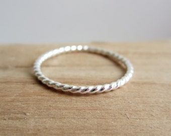 Thin Sterling Silver Twist Ring - Stacking Ring