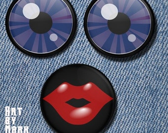 Lady Face Eyes and Lips set of 3  1.25 inch - Pinback Buttons