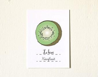 Kitchen Art illustration Kiwifruit Kiwi Spring Fruit - 5x7 Reproduction Art Print - French Retro Kitchen Green Home Decor Nature Citrus