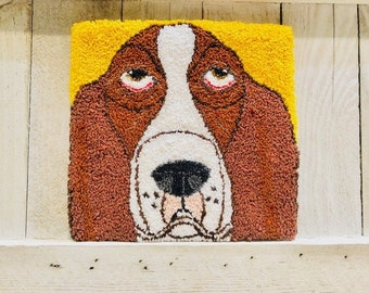 "Mailed Punch Needle Embroidery Basset Hound Pattern - ""Basset Beauty"" 5.5 x 5 inches"