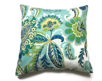 Decorative Pillow Cover Shades of Blue Green Yellow White Floral Design Same Fabric Front/Back Toss Throw Accent 18x18 inch x