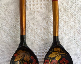 Vintage Wooden Hand Painted Wooden Spoons Russian Khokhloma Set of Two