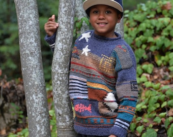 Individual kid's sweater, patchwork, alpaca, hand knitted, 128-134