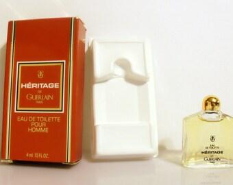 Vintage 1990s Heritage by Guerlain 0.13 oz Eau de Toilette Miniature Mini COLOGNE