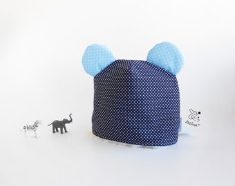 Baby Modern Beenie | Baby hat with ears |  winter hat | Cotton and fur baby hat round ears | toddler gift | Baby Christmas gift 9 months